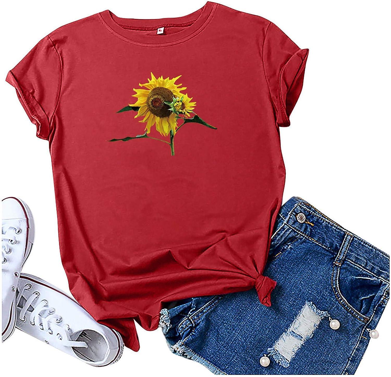 BingYELH Women's Graphic Tees Cute Sunflower Print Summer Casual Short Sleeve Round Neck Tops T Shirt