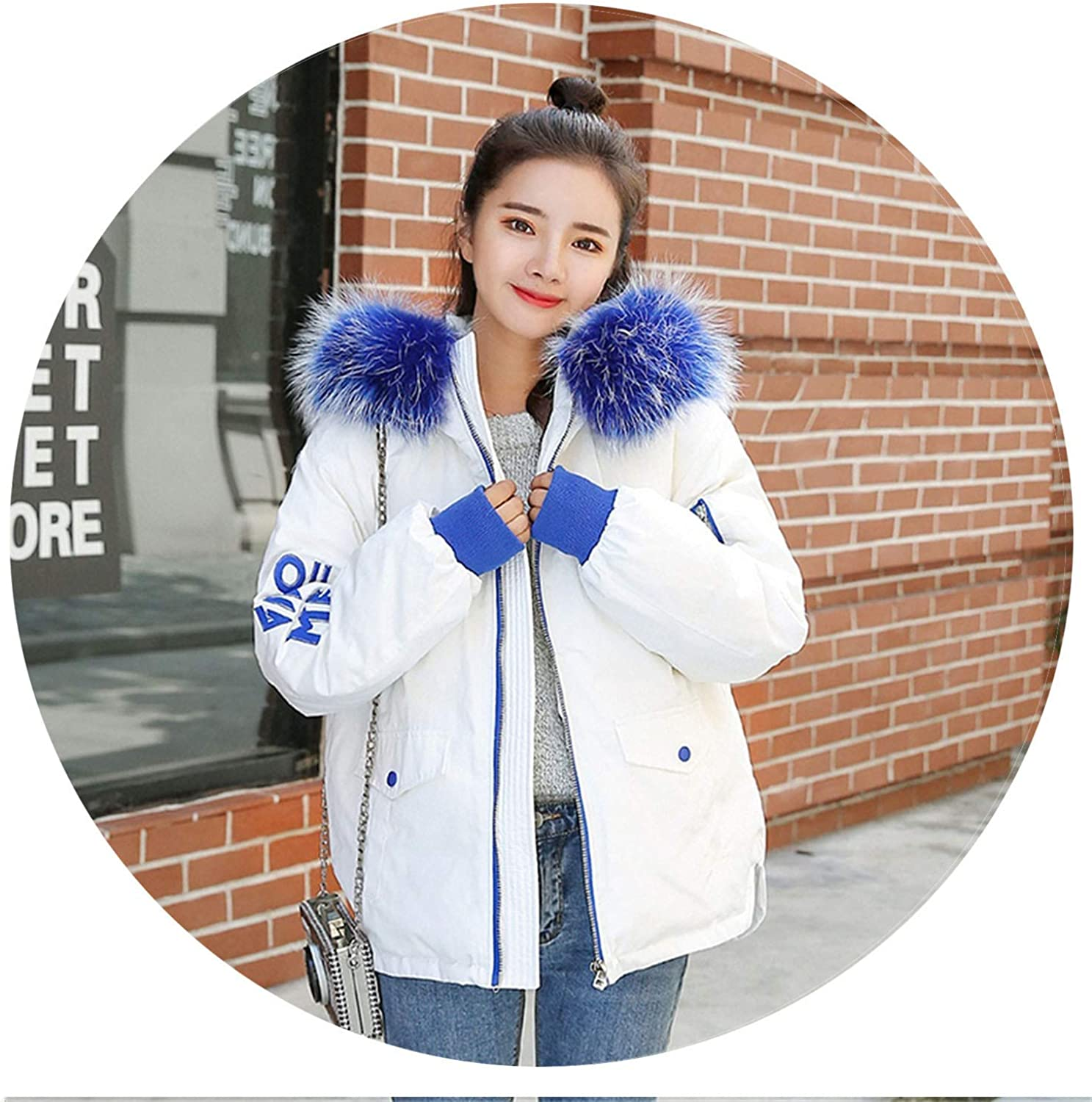 I'll NEVER BE HER Thicken Warm Winter Coat Women Oversized 2018 Large Fur White Duck Down Hooded Outerwear Winter et