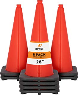 Xpose Safety 28 Inch Orange Traffic Cones, Multipurpose PVC Plastic Safety Cone for Parking, Soccer, Caution, Kids and Construction
