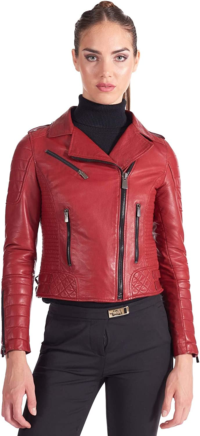 Red Washed Leather Quilted Perfecto Jacket Cross Zipper