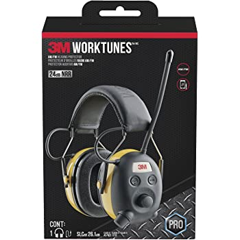 3M WorkTunes AM/FM Hearing Protector with Audio Assist Technology, 24 dB NRR, Ear protection for Mowing, Snowblowing, Construction, Work Shops