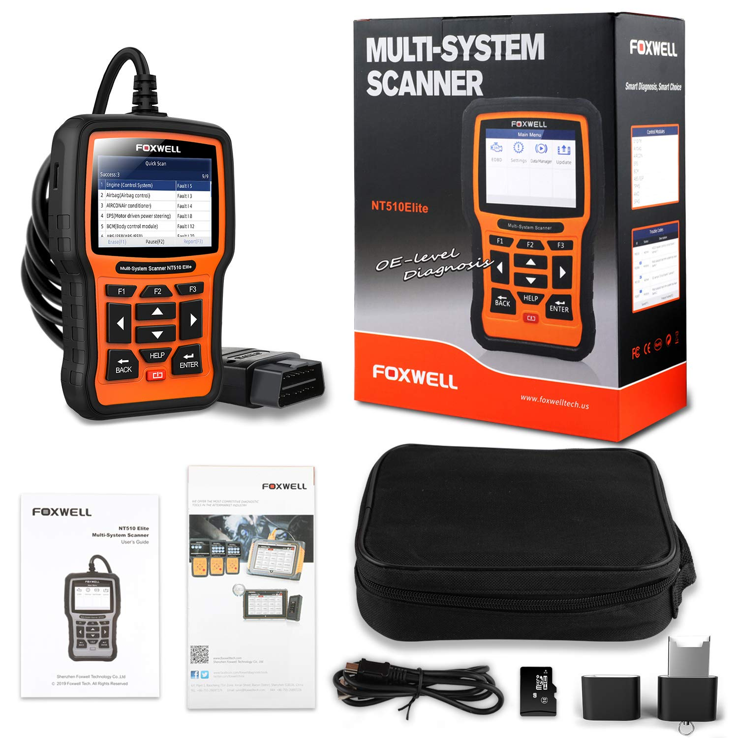 FOXWELL NT510 Elite Full Systems Scanner for BMW Automotive Obd2 Code Reader Bidirectional Diagnostic Scan Tool with SRS EPB SAS TPS Active Test Oil Reset Battery Registration (New Version)