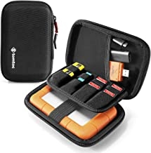 tomtoc Carrying Case for 2.5-inch External Hard Drive, EVA Shockproof Portable Bag for Western Digital | Toshiba | Seagate | LaCie | HGST Hard Drive, Travel Pouch with 8 Slots for USB Stick/SD Cards