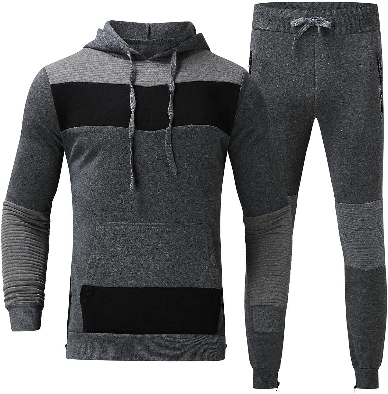 JSPOYOU Men 's 2 Pieces Tracksuit Suits Hoodies Full Zip Elastic Waistband Sports Suit Slim Fit Jogging Athletic Sweatsuits