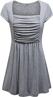 JCZHWQU Womens Square Neck Short Sleeve Dressy Tunics