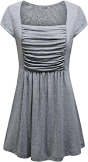 Womens Square Neck Short Sleeve Dressy Tunics