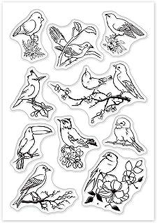 GLOBLELAND Oiseaux Tampons Clairs Cartes de Timbre en Silicone Oiseaux et Branches Tampons Clairs pour la Fabrication de C...