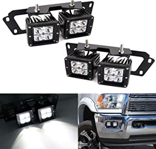 iJDMTOY LED Pod Light Fog Lamp Kit For Dodge 2009-12 RAM 1500 & 10-18 RAM 2500 3500, Includes (4) 20W High Power CREE LED Cubes, Foglight Location Mounting Brackets & Wiring/Adapter Harnesses