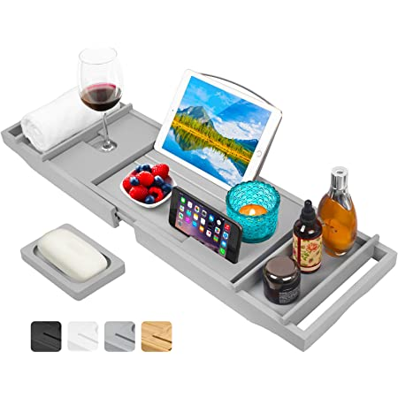 Artmalle Bathtub Caddy Tray for Luxury Bath,Expandable Bathroom Organizer with Wine and Book Holder,Free Soap Holder (Gray)
