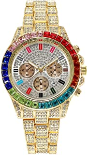 Quartz Hiphop Watch Colored Diamond Large Dial Male Luxury Water Ghost Wristwatch (Color : A)