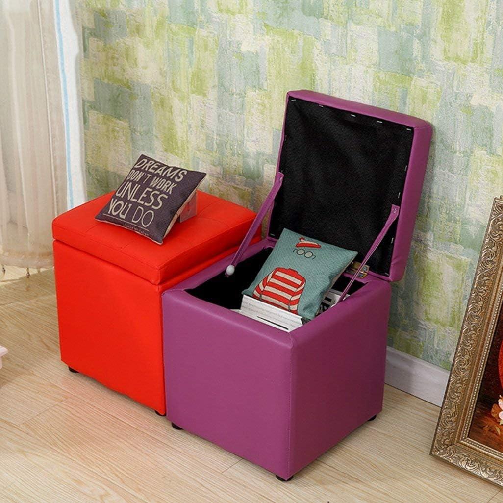 O&YQ Chaise de Salon Décontractée Tabouret de Canapé Tabouret en Cuir en Bois Massif Tabouret Court de Mode30 * 30 * 35CmRose Blanc