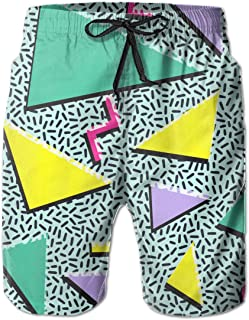 Funny 80s & 90s Retro Neon Men's Summer Casual Shorts Beachwear Sports Swim Board Shorts Breathable Surfing Shorts