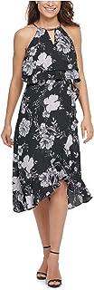 KENSIE Womens Black Floral Sleeveless Halter Below The Knee Fit + Flare Evening Dress AU Size:6