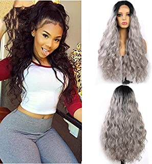 Glueless Lace Front Wigs Black Ombre Silver Grey Color Long Natural Water Wave Synthetic Lace Wigs For Women Natural Hairline Heat Resistant Fiber Hair 22inch