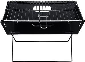 [pro.tec] Barbacoa Portátil Plegable con Parrilla BBQ - 45 x 30 x 30 cm Grill Acero de 0,5cm para Cámping Picnic para Cocinar Asar con Bolsa de Transporte Negro