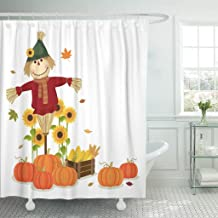Emvency Shower Curtain Fall of Autumn Harvesting Cute Scarecrow and Pumpkins November Waterproof Polyester Fabric 72 x 72 Inches Set with Hooks