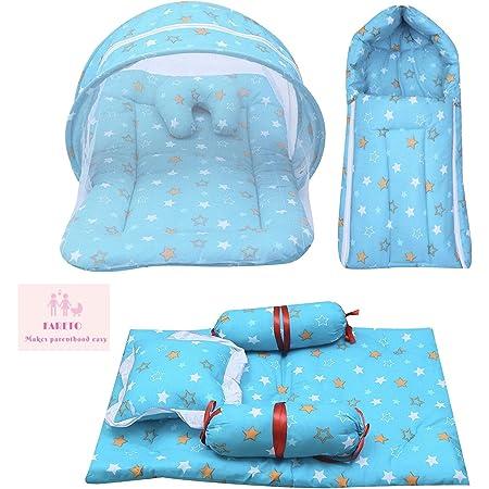 Infantbond Combo of Baby Mattress with Net | Sleeping Bag | 4 Pcs Bedding Set(0-6 Months) (Star Green)