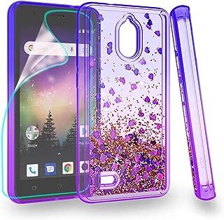 ZingCon for Coolpad Illumina 3310 Case,Glitter Bling Quicksand Adorable Shine Phone Over,Shockproof Hybrid Hard PC Soft TPU Protective-Blue/Purple