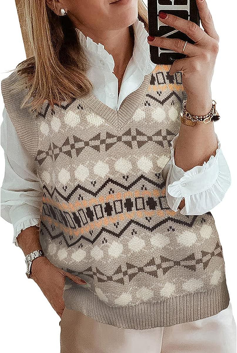 Selling YuMENo Sweater Vest for Women Oversized Knit S Sleeveless Neck V Lowest price challenge