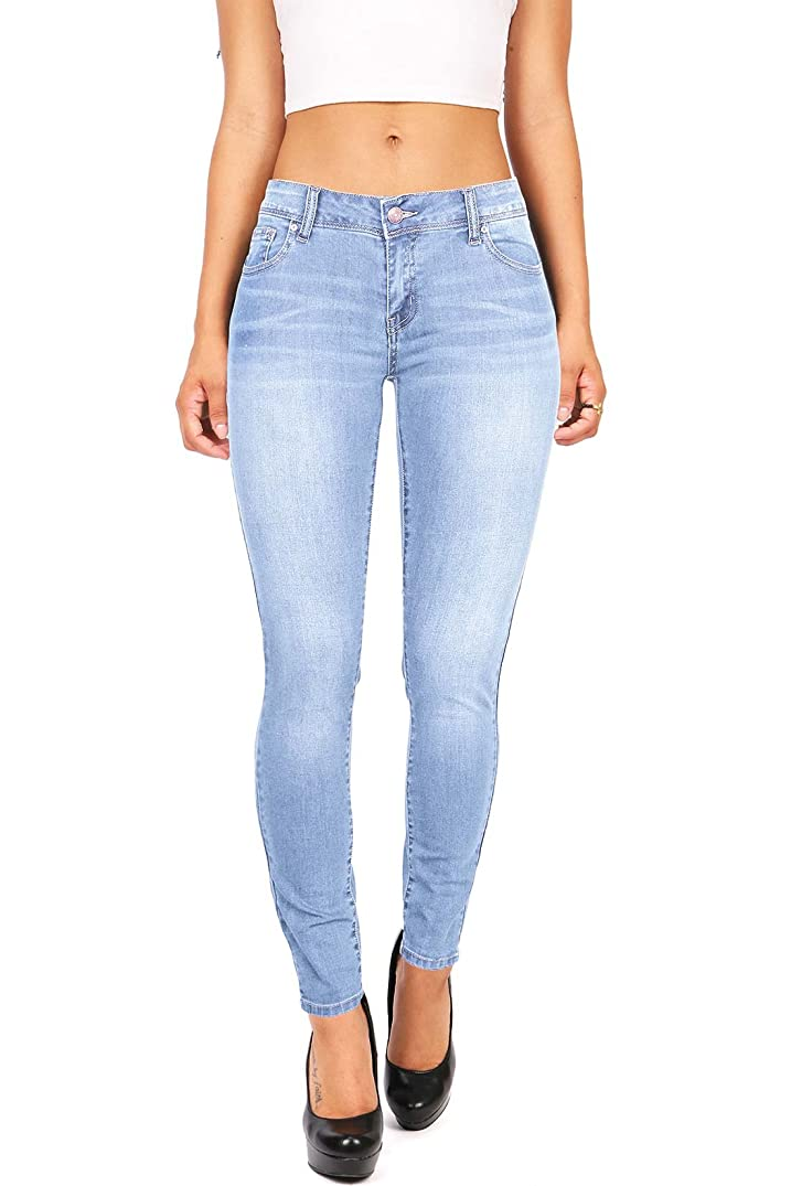 Wax Women's Juniors Basic Stretchy Fit Skinny Jeans