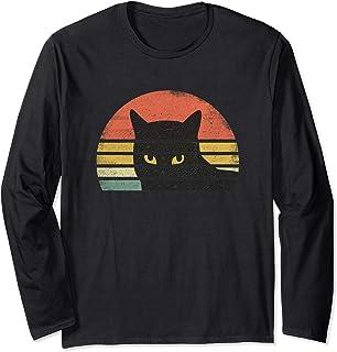 T-shirt chat rétro vintage des années 80 en détresse Manche Longue