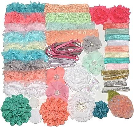 372560259e BERON 51pcs Baby Shower Headband Kit and DIY Headband Kit Baby Shower  Chiffon Flower for DIY