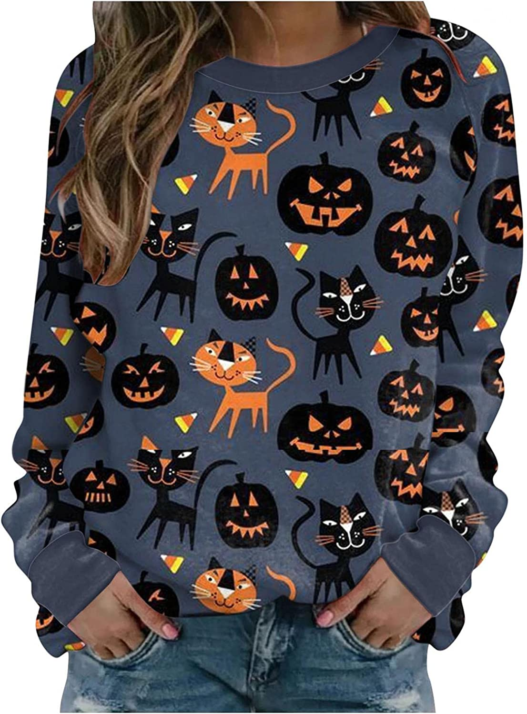 TAYBAGH Halloween Shirts for Women,Womens Fashion Ghost Pumpkin Print Long Sleeve Sweatshirt Casual Pullover Blouse Tops