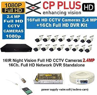 CP Plus 16 Channel DVR + 16 CP PLUS Camera + 2TB Surveillance Hard Drive + 16 Power Supply + BNC, DC Connectors