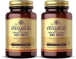 Solgar Natural Vitamin K2 (MK-7) 100 mcg, 50 Vegetable Capsules - Pack of 2 - Supports Bone Health - Natural Whole Food So...