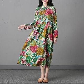 Nuevos vestidos de las mujeres de estilo vintage de manga larga con estampado floral vestido largo maxi Primavera y verano fiesta de baile vestido de fiesta por la noche Tabla de tamaño de referencia ( tamaño : M )