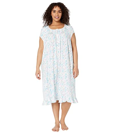 Eileen West Plus Size Modal Spandex Jersey Knit Cap Sleeve Waltz Nightgown (White Ground/Multi Floral) Women