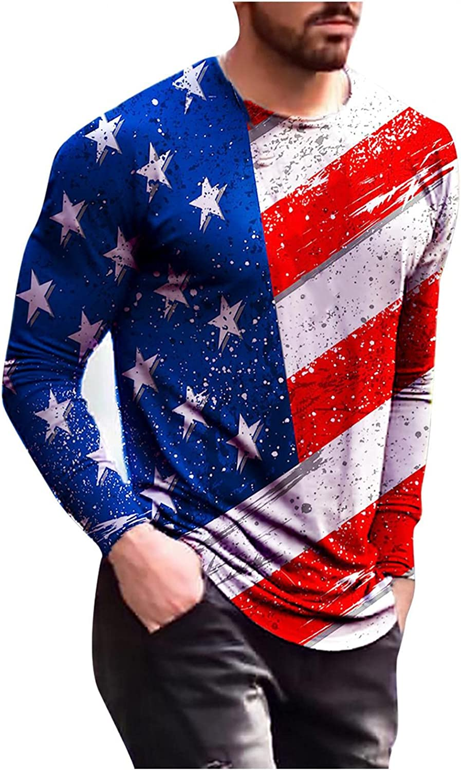 Limited time cheap sale JSPOYOU Mens American Flag 3D Sleeve Regular Ranking integrated 1st place Shirts Long Printed