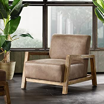 Amazon Com Modhaus Living Mid Century Modern Rustic Style Taupe Brown Faux Leather Upholstered Accent Danish Arm Lounge Chair Includes Pen Furniture Decor