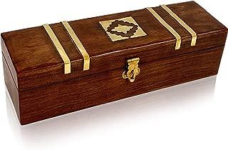 Wooden Jewelry Storage Box with Inlay Design Handmade Solid Brass Inlay Sheesham Wood 10-Inch by 3-Inch - Multipurpose Organizer Storage Case
