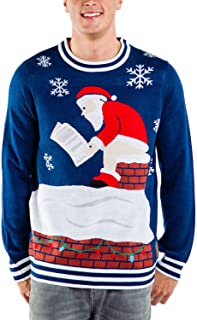 Tipsy Elves Men's Santa Pooping Ugly Christmas Sweater - Funny Santa Xmas Sweater
