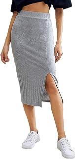 Women's Basic Plain Ribbed Knit Split Stretchy Pencil Bodycon Midi Skirt