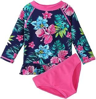 XIAOFEIGUO Toddler/Baby Girls Rash Guard Swimsuit Long Sleeve 2 Piece Swim Bottoms Set UPF 50+