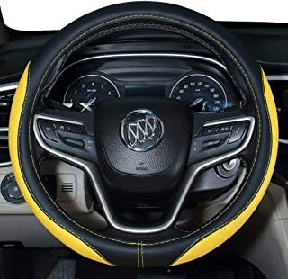 DuoDuoBling 2019 New Microfiber Leather Steering Wheel Cover for Toyota Honda Ford Focus VW (Yellow)