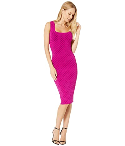 Milly Micro Dot Fitted Dress (Magenta/Black) Women