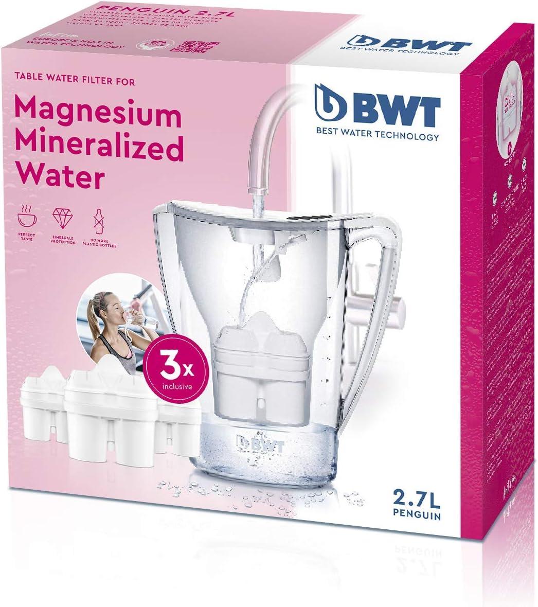BWT 815079 - Jarra de Agua con Filtro (2,7 litros, Incluye 3 Cartuchos), Color Blanco