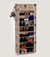 Shoe Rack with Cover Having 10 Shoe Shelf/Tiers, Multipurpose and Foldable Shoe Storage Organizer with Iron Pipe and Non Woven Fabric Cover, Front Closable Zippered Roll up and Roll Down Door