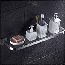 Bathroom Tempered Glass Shelf Bathroom Shelves With Thick Glass Wall Mount Rectangular Brushed Finish 1 Tier 24 Inch 1214...