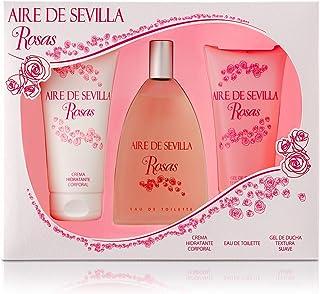 Aire de Sevilla Set de Belleza Edición Rosas - Crema Hidratante Corporal Eau de Toilette Gel Exfoliante