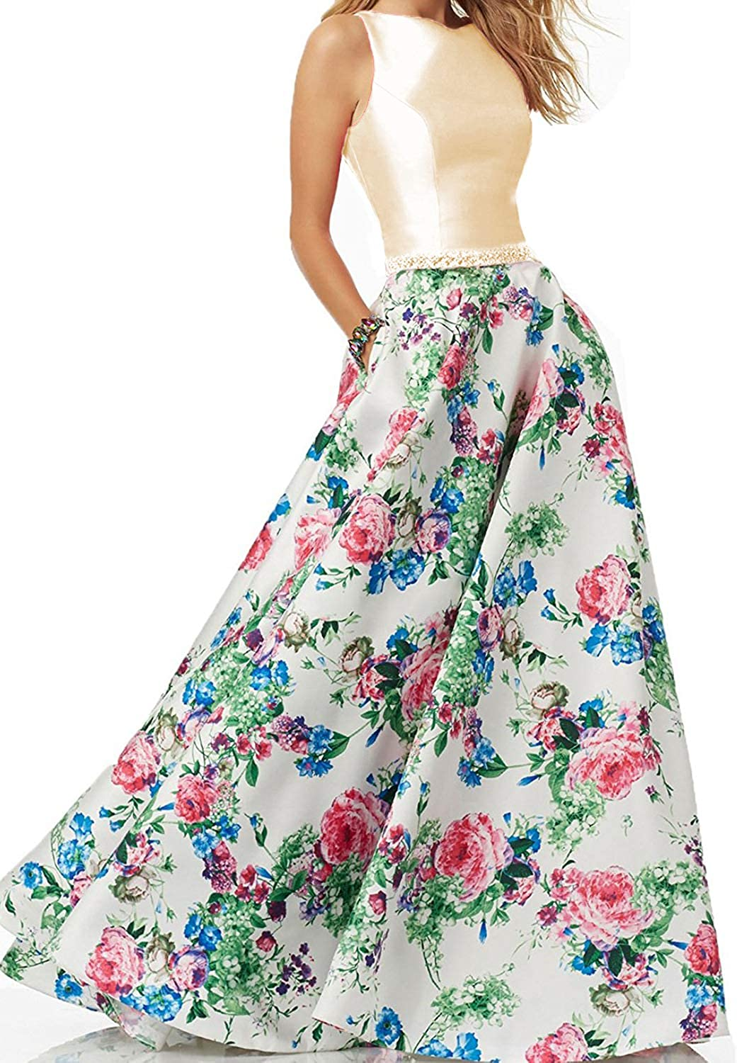 BessWedding Women's Two Pieces Floral Satin Prom Dresses Long 2018 Formal Evening Gowns BP025
