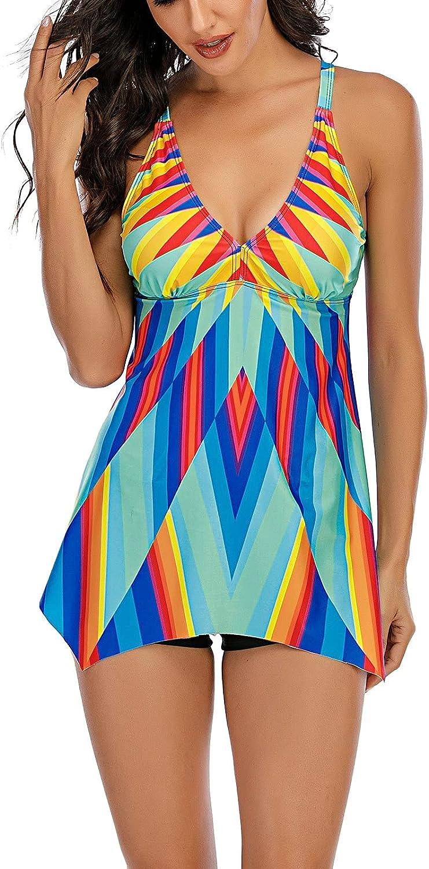 Tankini Two Piece Swimsuit for Women Tummy Control Flowy Swing Beach Vacation Swimwear Plus Size Print Bikini
