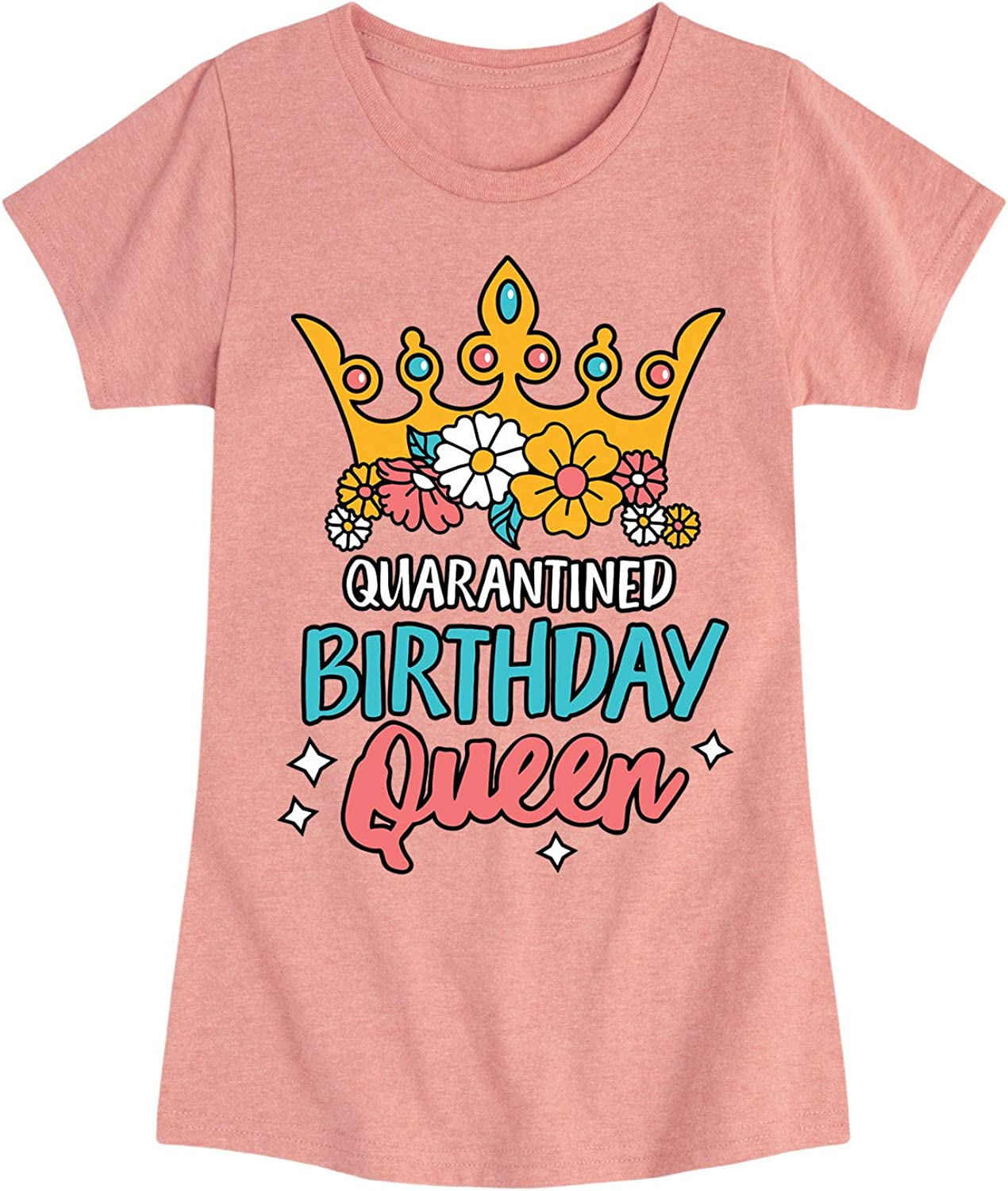 Instant Message Quarantined Birthday Queen - Toddler and Youth Girls Short Sleeve T-Shirts