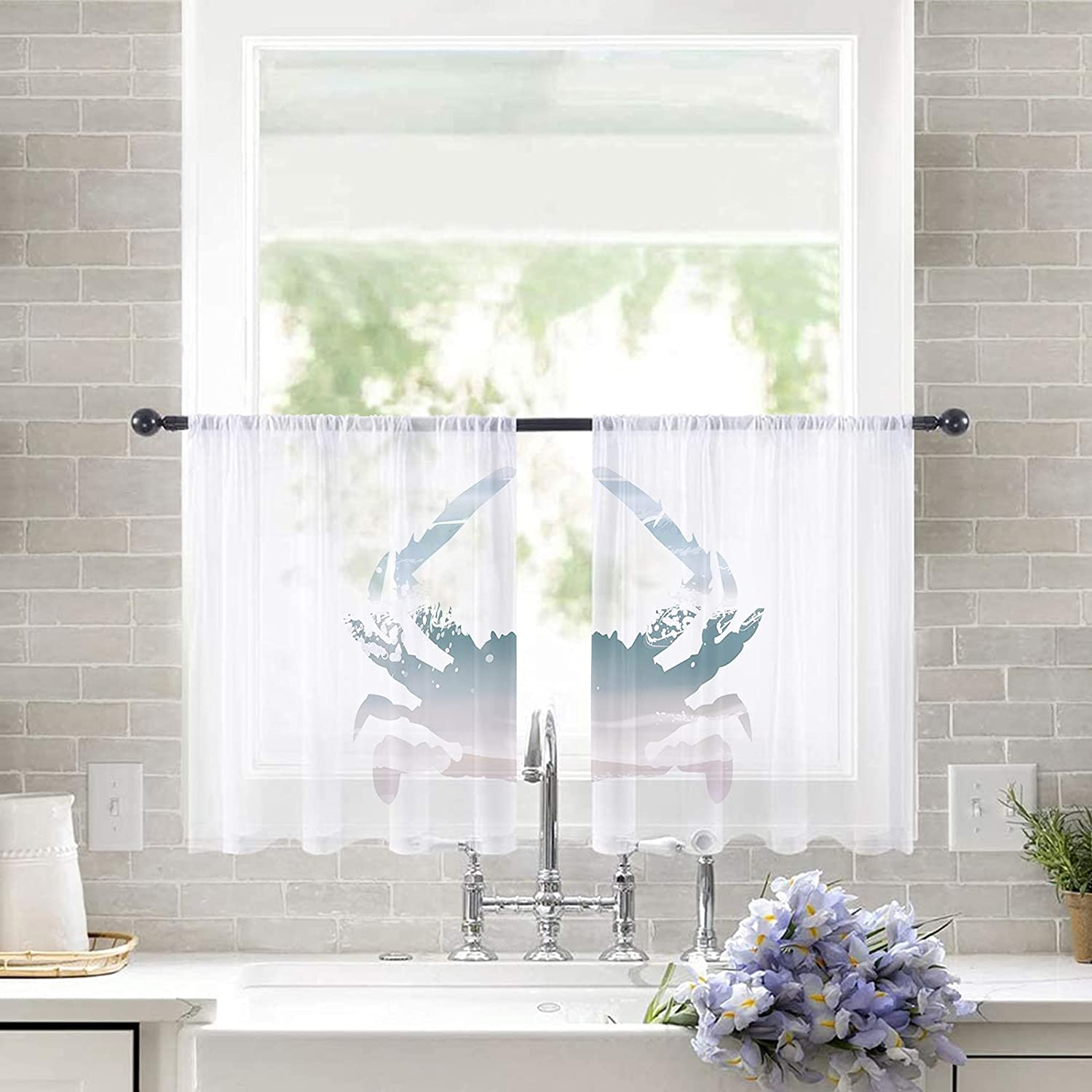 2pc Import Set Sheer Curtains for Bedroom Rod Windows Beach Inventory cleanup selling sale Pocket Cur