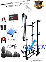 GymCrew ABS Tower with 20 in 1 Bench (Rectangle Pipe 4x2 INCH) + 100 KG Rubber Weight + 5FT Plain Rod (25 mm) + 3 FT Curl Rod (20 mm)(Black)