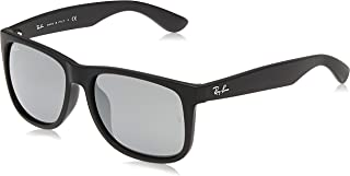 Ray-Ban RB4165F Justin Rectangular Asian Fit Sunglasses for Unisex-Adult Black Rubber/Grey Mirror Size: 58 mm