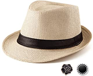 Fedora Hat Mens Fedora Hats for Men Trilby Hat Straw Sun Hat Panama Hat Reducer